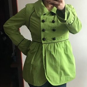 Soia & Kyo Lime Green Short Trench Peplum Jacket L
